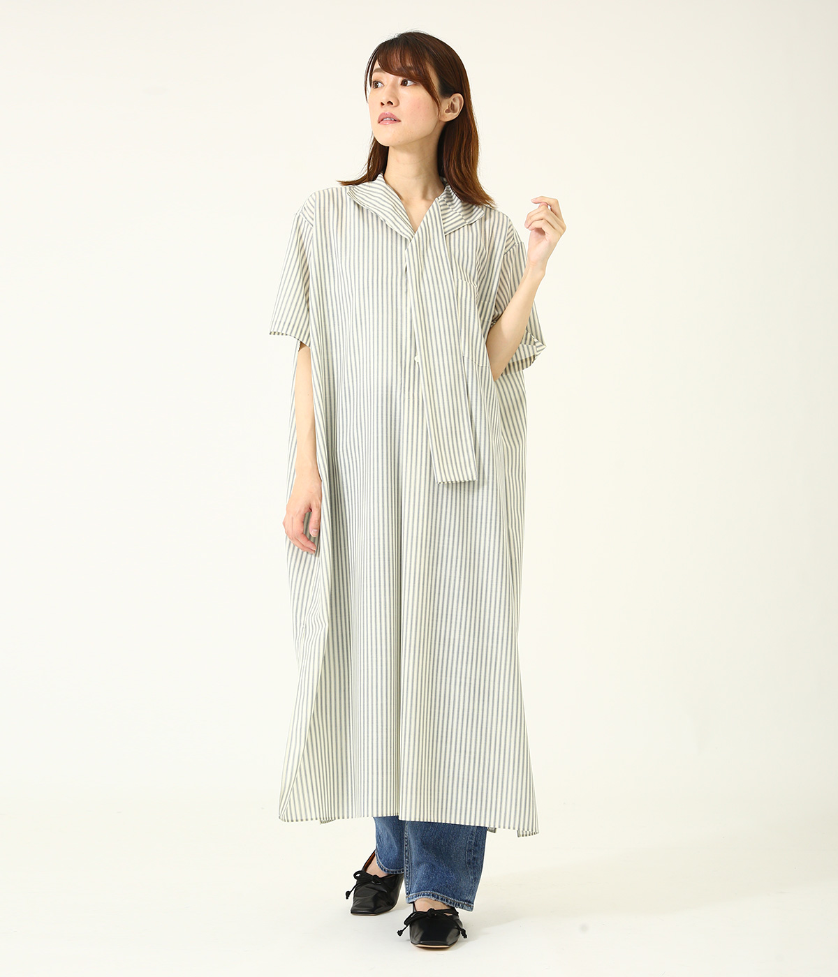 【レディース】wool voile stripe Wfaced shirt dress