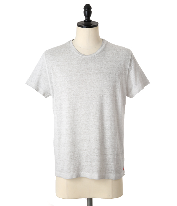 LINEN CREW NECK T-SHIRTS-PEARL GREY-