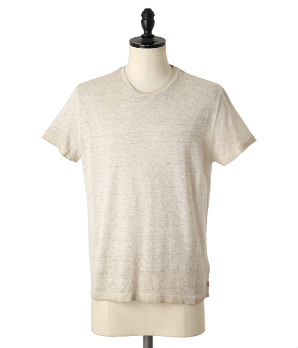 LINEN CREW NECK T-SHIRTS-CREAM-