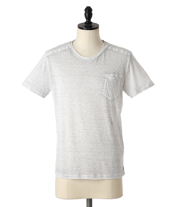 LINEN POCKET T-SHIRTS-PEARL GREY-