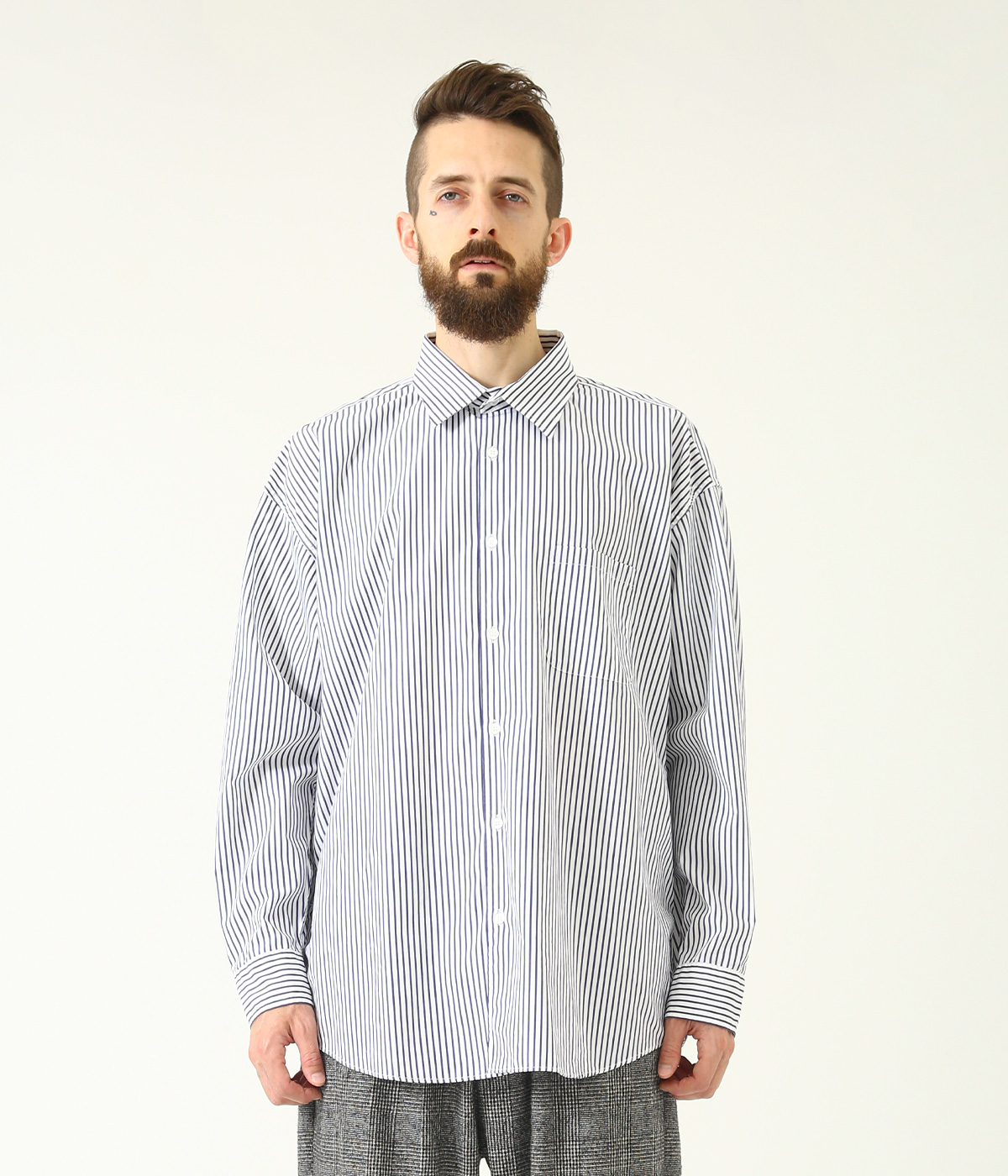 120/2 BROAD STRIPE REGULAR COLLAR BIG SHIRT