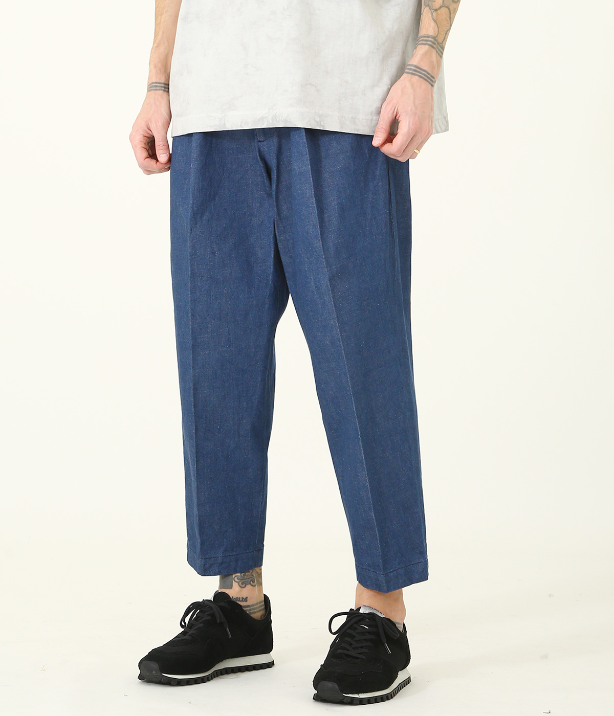 12oz. DENIM 1TUCK TAPERED TROUSERS