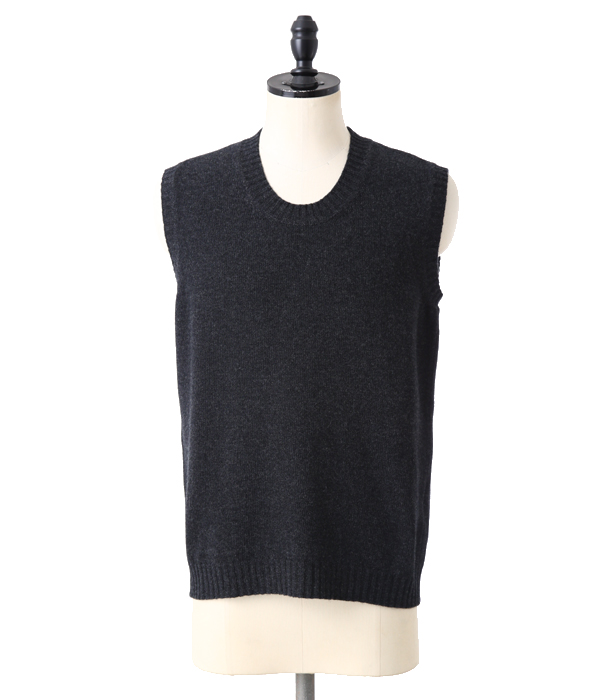 MATTHEW  U NECK NO SLEEVES SUPERGEELONG-CHARCOAL-