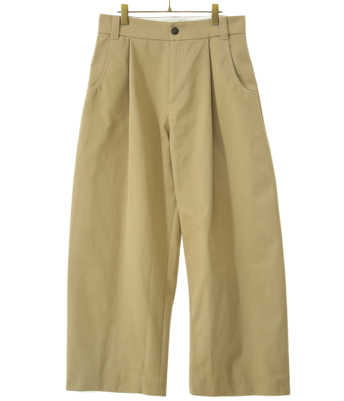 BEN PEACHED COTTON TWILL VOLUME PLEAT PANTS