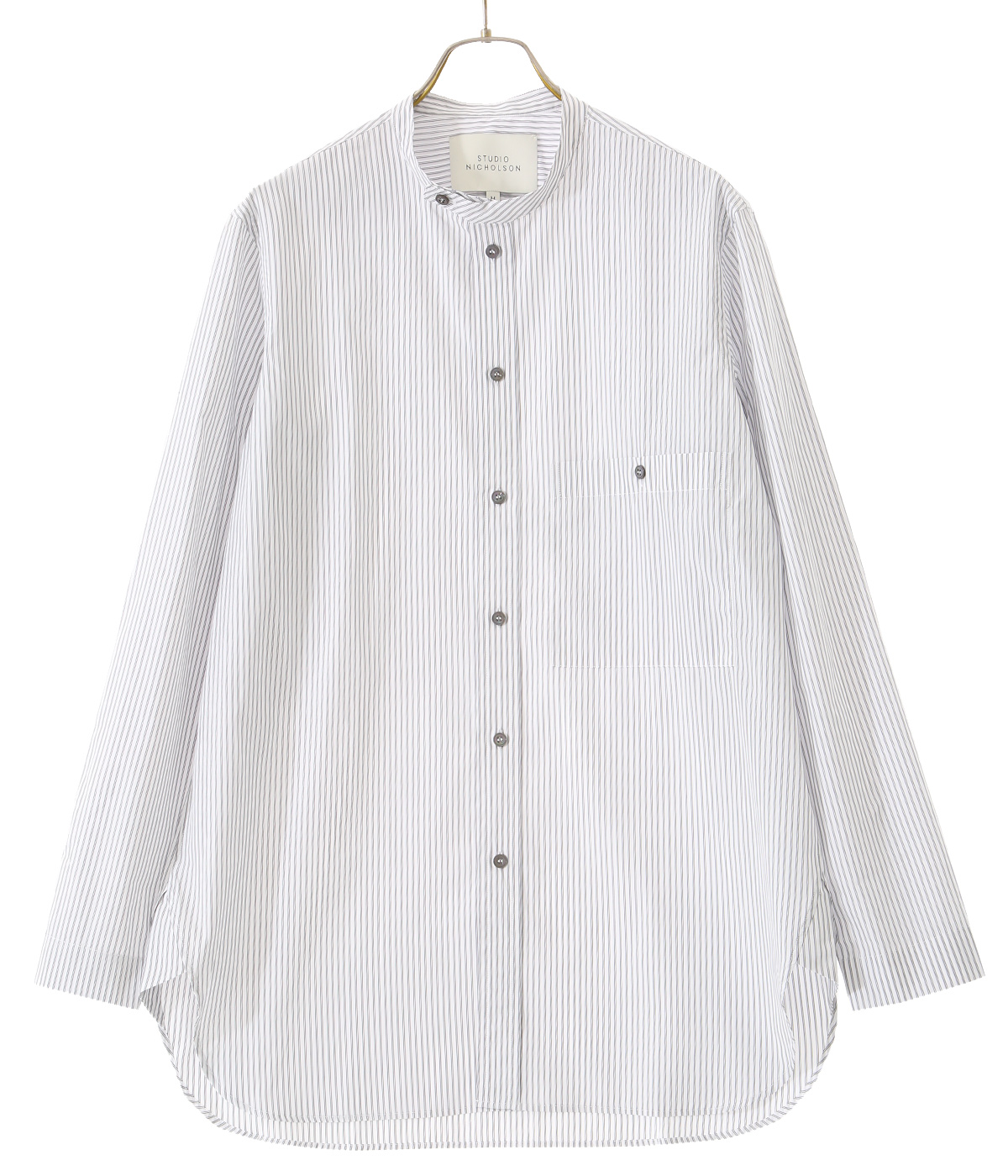 TENUTO PUMINO TRIPLE STRIPE STAND COLLAR LONG SLEEVE SHIRT