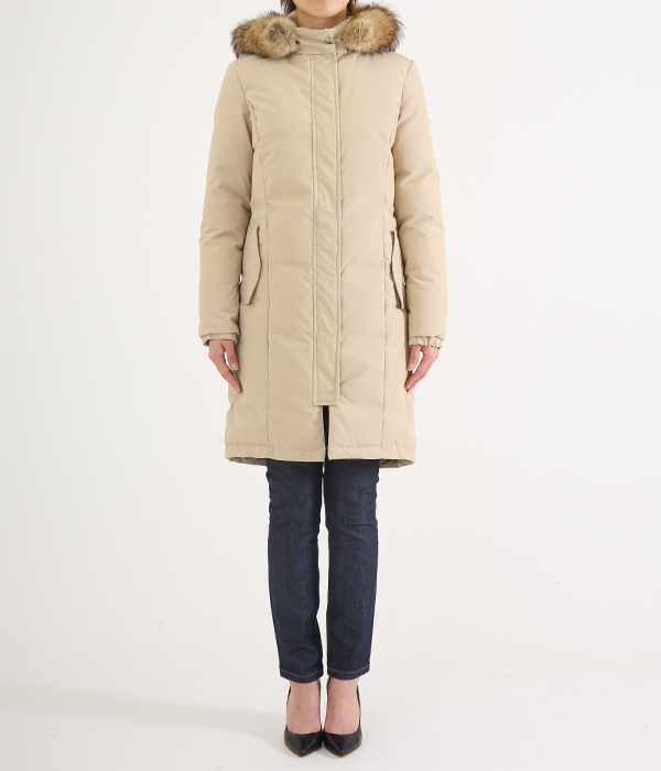 【レディース】<ELLNORA(エルノラ)>-LONG HOODED DOWN JACKET-Lt.TAN-