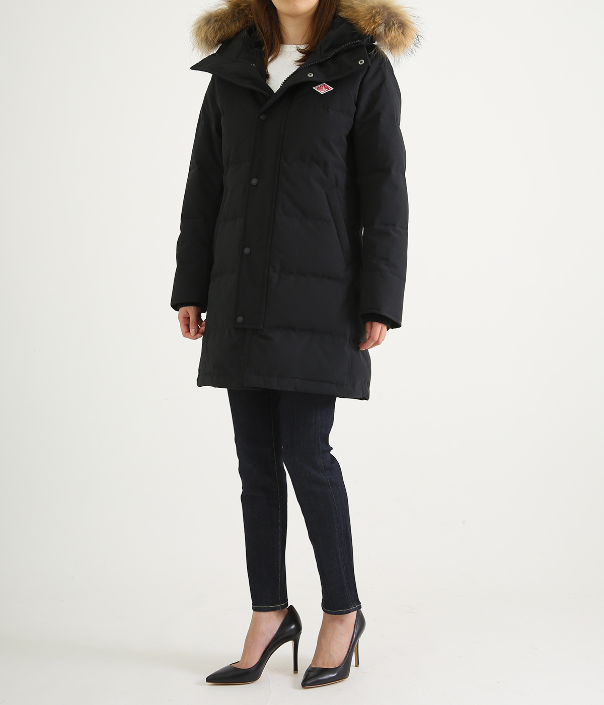 【レディース】<P/C TUSSAH (タッサー)>-LONG DOWN JACKET-BLACK-