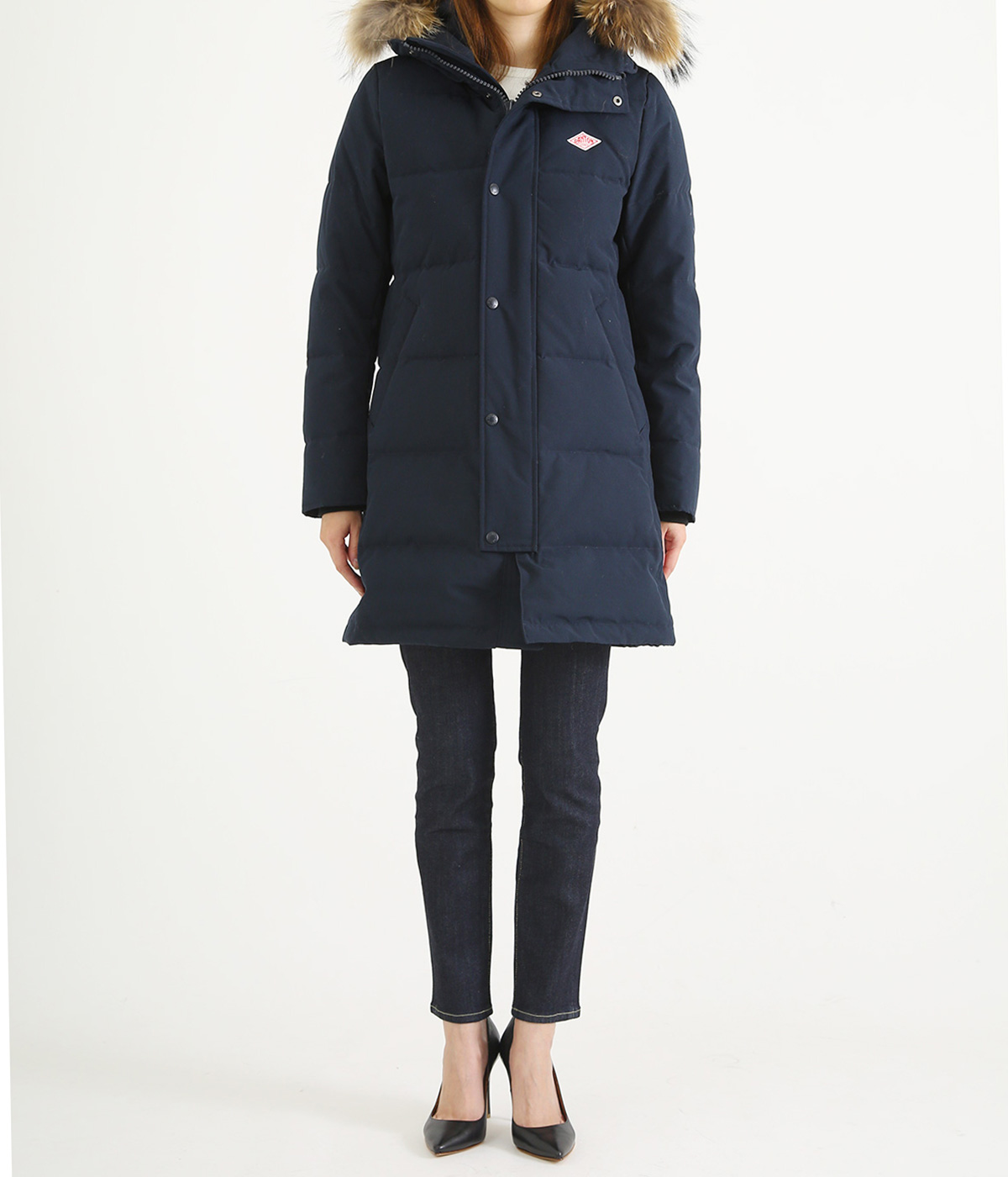 【レディース】 <P/C TUSSAH (タッサー)>-LONG DOWN JACKET-NAVY-