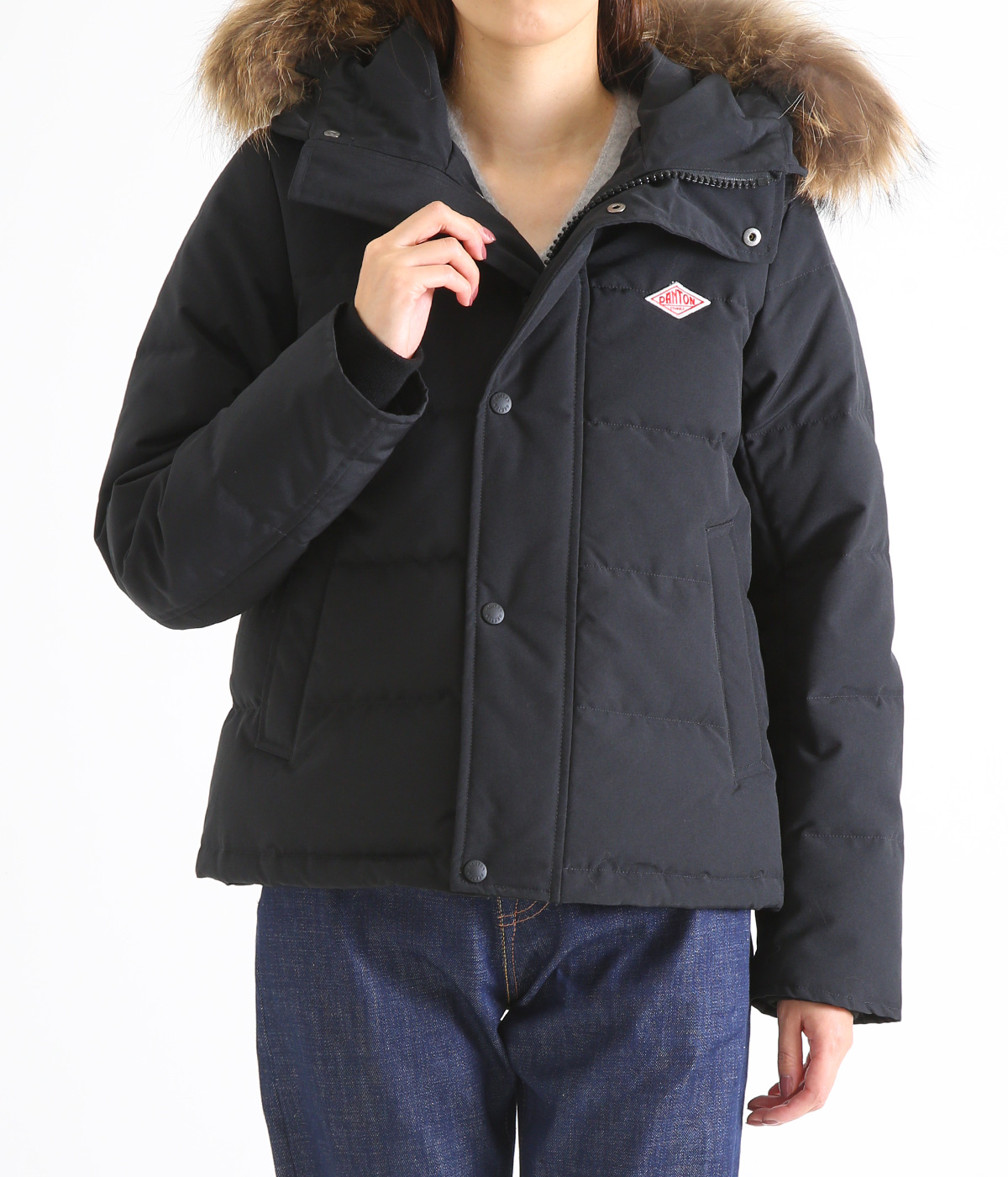 【レディース】<P/C TUSSAH (タッサー)>-SHORT DOWN JACKET-BLACK-