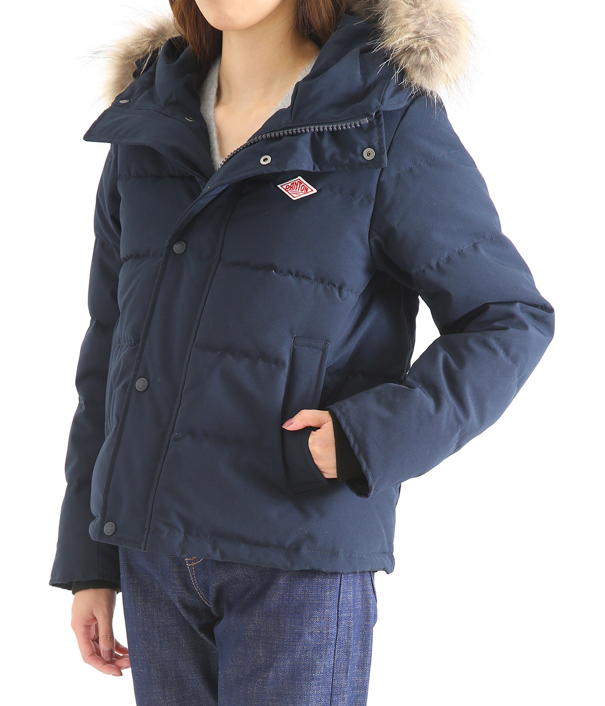 【レディース】<P/C TUSSAH (タッサー)>-SHORT DOWN JACKET-NAVY-