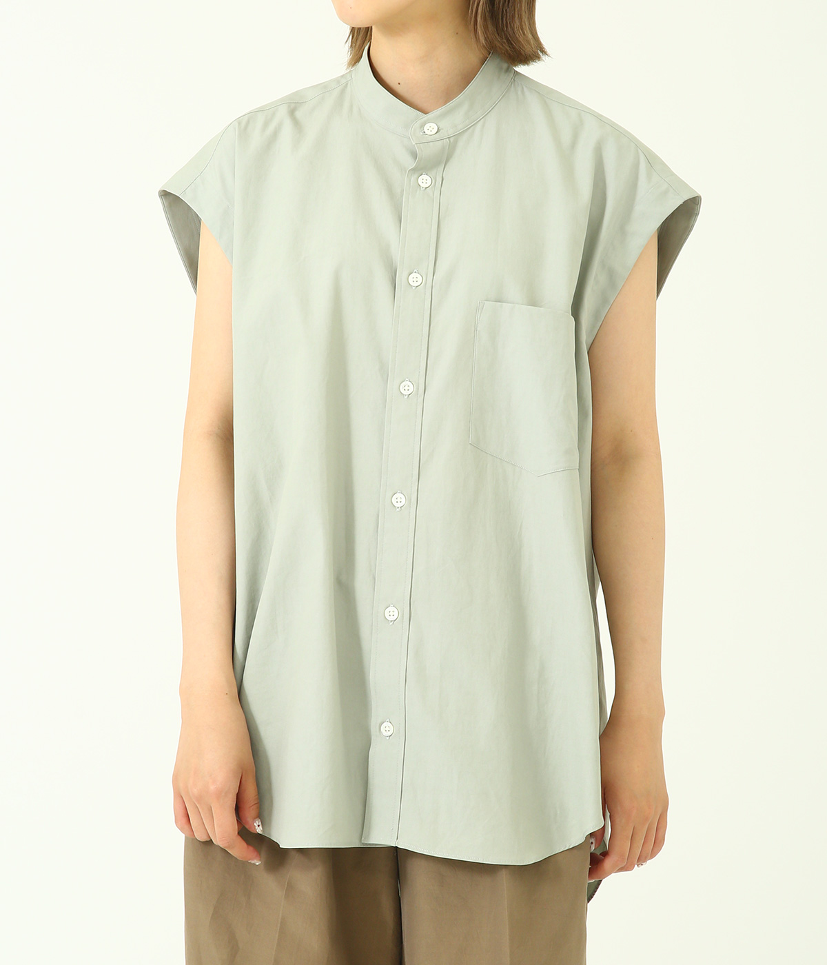 WASHED FINX TWILL SLEEVELESS SHIRTS