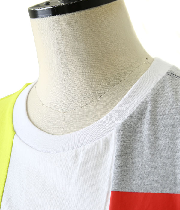 MULTI REMAKE T-SHIRT -C (YELLOW×WHITE×GREY)-