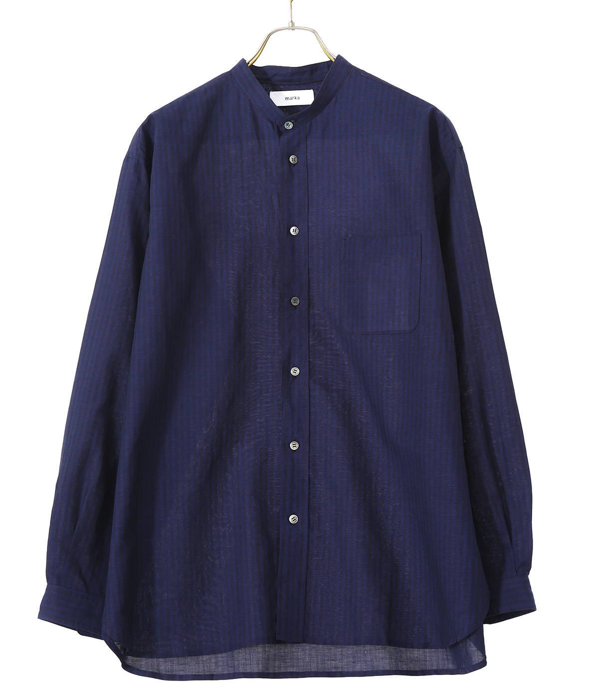 【予約】BAND COLLAR SHIRT - cotton linen stripe -