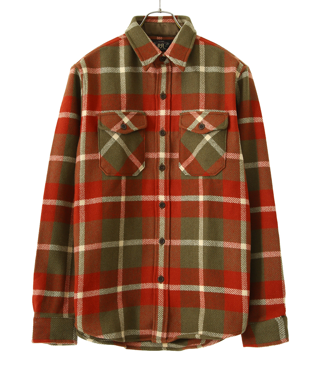 MELTON OS-LONG SLEEVE-SPORT SHIRT WOOL PLAID / SUEDE