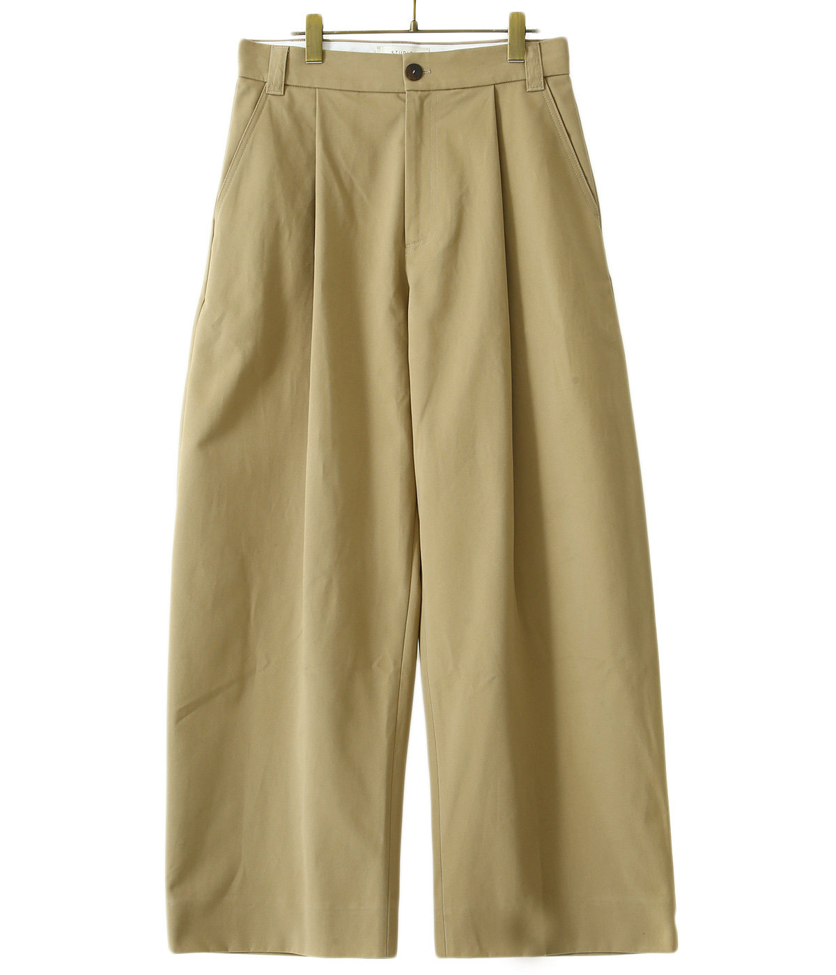 SORTE PEACHED COTTON TWILL VOLUME PLEAT PANTS